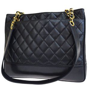 Auth Chanel CC Quilted Chain Tote Bag #N9190H03O